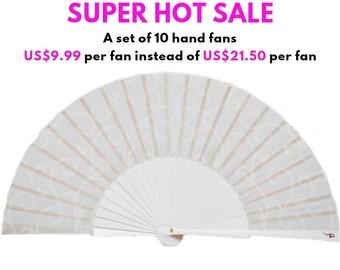 WEDDING FANS | A set of 10 Designer Hand Fans | white folding fans | summer wedding favor | bridal accessories | Free Shipping Worldwide