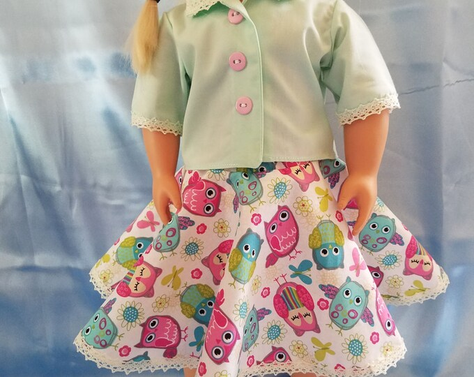 "18"" doll clothes  handmade to Fit like American Girl,Light Green Blouse/Lace print Full Skirt and Light Green Shoes FREE SHIPPING"
