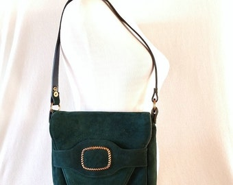 Vintage Large Suede Green Leather Purse with Front Flap