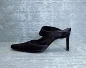 Vtg 90s Black Satin Minimal Cutout Pointy Mules Shoes