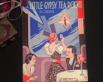 1935 Sheet Music, Art Deco Couple, Gypsy Fortune Teller, In a Little Gypsy Tea Room, Wall Art Décor, Boho Chic Décor, Vintage Music