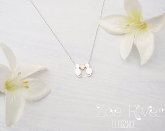 Choose silver, gold or rose gold cat necklace, personalized initials cat pendant. Dainty cat necklace