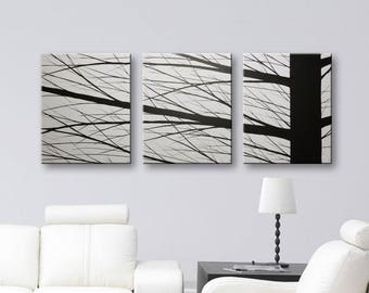 "Canvas Painting Wall Decor Original Paintings Grey Wall art Gray Home Decor 48""x20"""
