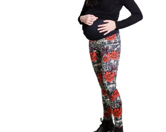 Red Flowers Maternity Pants