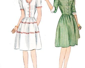 Simplicity 4901 Vintage 1940s Teen Size Dress Sewing Pattern