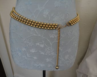 Vintage Triple Row Gold Plastic Bead and Gold Tone Chain Belt - 1960's - Mod/Gogo/Twiggy/Swinging Sixties/Beatles - Adjustable