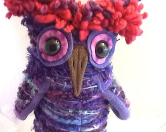 Iris The Purple Wine Fiber Art Plush Owl