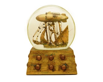 Journey to the Stars airship sparkle snow globe