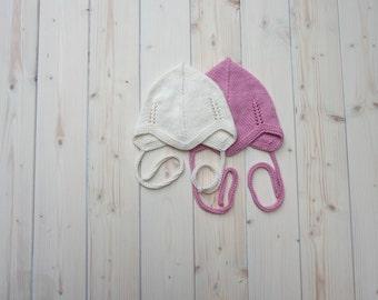 Merino Wool Newborn Hat | Baby Hat Set of 2 | Knit Baby Girl Hat | White Baby Hat | Baby Bonnet | Newborn Cap | Pink Beanie | White Earflap
