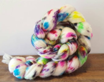 Superwash Bfl- bluefaced leicester- combed- wool top- roving- 4oz- Hand Painted-Hand Dyed- Unicorn Tears