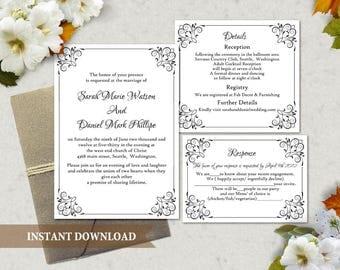 Wedding Invitation Template Download Printable Wedding Invitation Editable Invitation Black Invitation Elegant Floral Wedding Invitation DIY