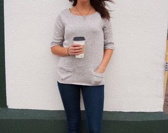 Grey Pocket Sweater | Knit Sweater