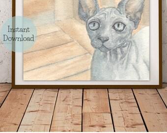 Sphynx Hairless Cat Watercolor Printable by TeaTimeCreative   Original Water Color Painting Print 8x10