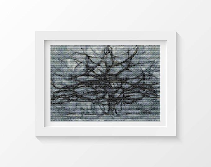 Cross Stitch Pattern PDF, Embroidery Chart, Abstract Art Cross Stitch, The Gray Tree by Piet Mondrian Cross Stitch Chart, Nature (PIET01)