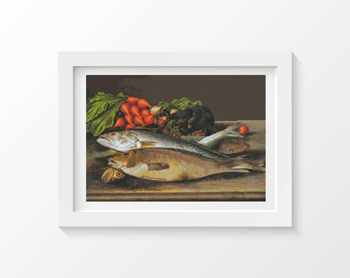 Cross Stitch Pattern PDF, Embroidery Chart, Art Cross Stitch, Fish, Lobster and Radishes by Levi Wells Prentice (PRENT03)