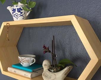 Floating Hexagon Wall Shelf - Geometric Shelving - Wooden Book Shelves - Bedside Decor - Bathroom Shelf - OOAK - 1 Extra Long Hexagon Shelf