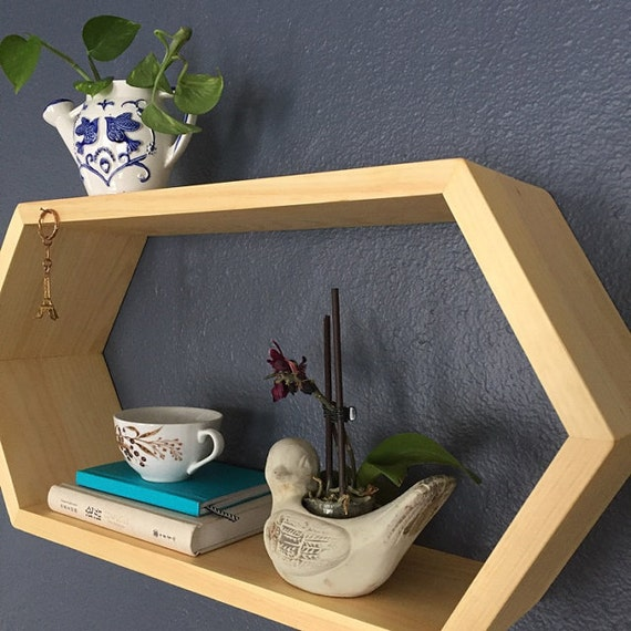 floating hexagon wall shelf geometric shelving wooden book. Black Bedroom Furniture Sets. Home Design Ideas