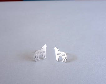 Personalized Wolf earrings, sterling silver .925