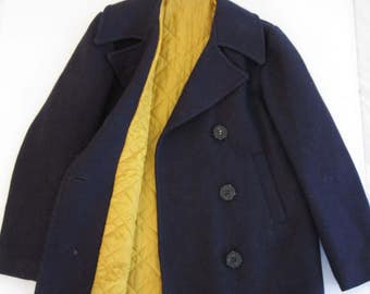 Vintage Sears Fashion Wool PeaCoat with Bright Yellow Lining