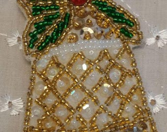 Vintage Beaded Bell Ornament or Magnet
