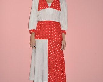 Vintage 60s 70s Red White Polka Dot Asymetrical Secretary Party Dress