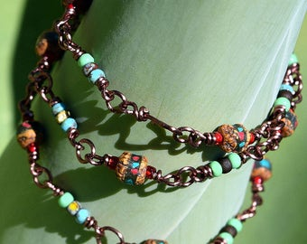 Antique Copper , Wire Wrapped Necklace with Rudraksha Beads and Picasso Seed Beads, by Helen Jewelry, Wire Wrapping, Picasso Beads, Handmade