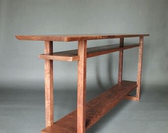 Long Narrow Wood Table with Two Shelves: Console Table for Hallways, Entryway Table, Sofa Table