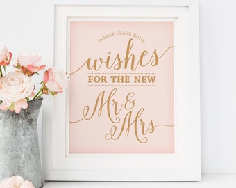Printable Wedding Advice Sign // Leave Your Wishes Sign // Caramel Gold and Blush Wedding // Instant Download