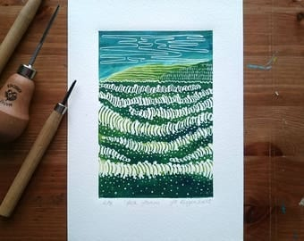 Sea Foam, limited edition original lino print, art print, lino print