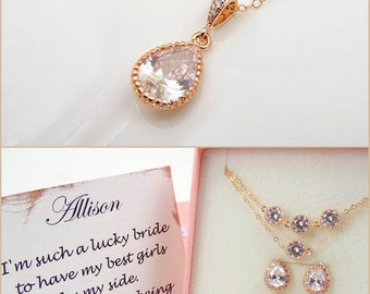 Bridal Jewelry Rose Gold Necklace Bridesmaid Gift Crystal Necklace Wedding Jewelry Bridesmaid Necklace Maid of Honor Bridesmaid Proposal
