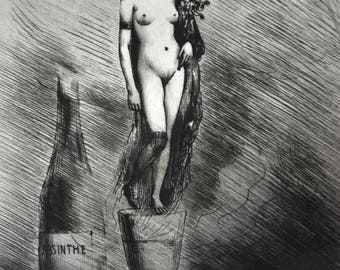 Joseph Apoux Lithograph Nude Woman Destroyed by Absinthe and Alcohol Risque Art French Erotica Listed Artist RARE Work