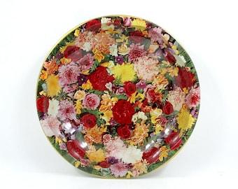 Vintage Daher Floral Metal Bowl