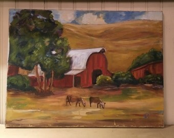 Vintage oil painting cows