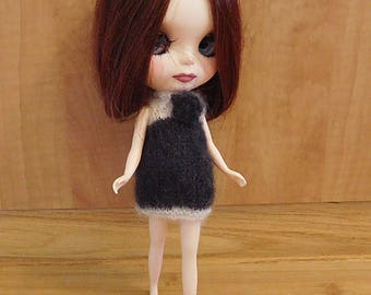 Knit Black and White Dress for a Blythe Doll