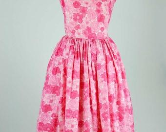1950s Vintage Prom Dress in Pink Floral Nylon
