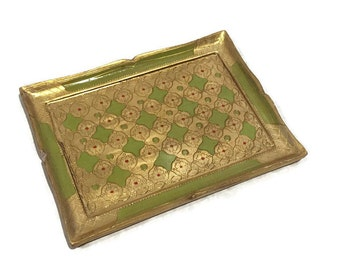 Vintage Florentine Tray Vanity Dresser Tray Italian Gold Gilt Coffee Table Tray Candle Tray Gypsy Caravan