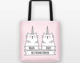 Personalized Best Friend Gift, Personalized Tote Bag, Caticorn Cat Tote Bag, Unicorn Tote Bag, Friendship Gift Best Friend Birthday Gift