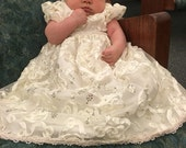 Unique gorgeous off white Christening/Baptism/Blessing gown with tiny gold sequins