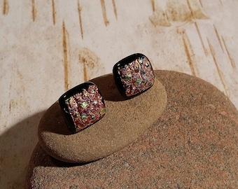 Square Black, Copper, Blue Dichroic Fused Glass Post Earrings - FG-054