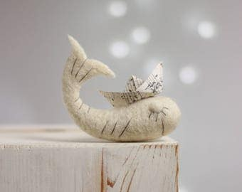 Needle Felted Whale - Needle Felt White Whale With Paper Origami Boat - Whale Miniature - Summer Home Decor - Art Doll - Needle Felt Animals