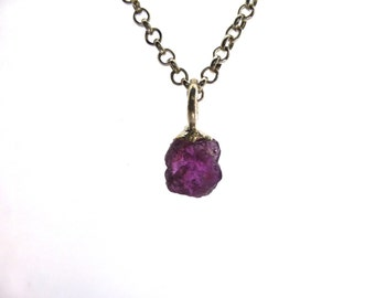 Natural Ruby and Silver Pendant Raw Gemstone Jewelry