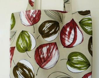 Shopping bag - leaves print, maroon lining
