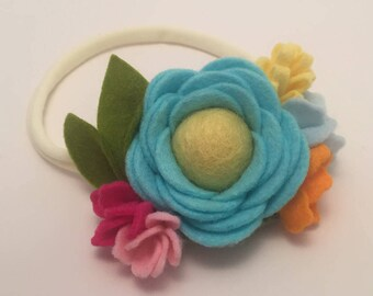 Turquoise Felt Flower Headband, Spring, Easter