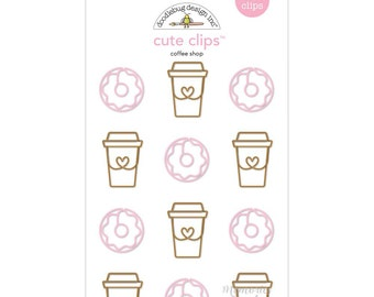 Frappuccino Paper Clips - Coffee Paper Clip - Donut Paper Clip - Coffee Shop - Set of 12 - Planner Accessories Bookmark - Doodlebug - 311242