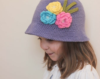 Ready to ship/ Flower sun hat/ Purple Sun Hat/ Purple hat/ Flower hat/ Sun hat/ Girls sun hat/ Easter Hat/ Easter bonnet/