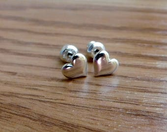 Sterling silver earrings, sterling silver post/stud earrings, heart earrings, silver heart earrings, love jewelry