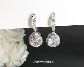 Clip on Wedding Earrings Dangle Earrings CZ Earrings Bridal Statement Earrings, Bridal Jewelry Cubic Zirconia Earrings Drop Earrings