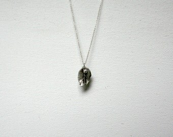 OOAK Sterling Silver Leaf  Necklace January Birthday Handmade Valentines Day Jewelry Gift