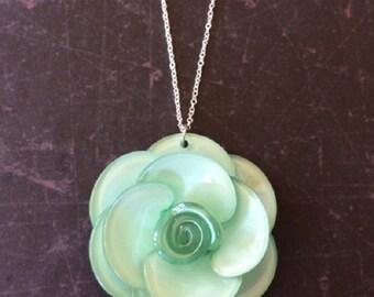 Mint Green Necklace - Mint Green Jewelry - Mint Green Wedding - Mint Green - Large Necklace - Large Pendants - Mint Flowers - Flower Jewelry