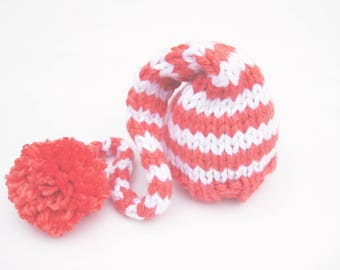 Coral & White Striped Elf Hat Newborn Photo Prop / Size 0 - 12 months / Baby Photography Prop Girl Pink